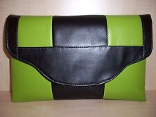 OVER SIZED  LIME GREEN, BLACK  faux leather clutch bag, fully lined, UK made, BN