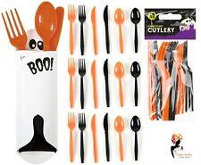 18x HALLOWEEN PLASTIC DISPOSABLE CUTLERY Orange Black Party Buffet Lot