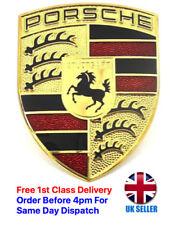 Porsche Crest Bonnet Badge Metal 51mm x 67mm Self Adhesive