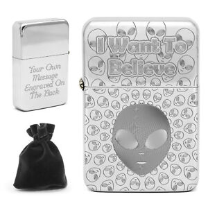Personalised Engraved Grey Alien Lighter Truth Is Out There Want to Believe Gift