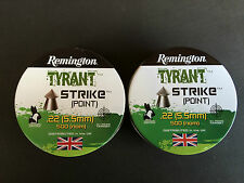 1,000 No. .22 REMINGTON POINTED AIR RIFLE/ PISTOL PELLETS.. (2 TINS OF 500)...