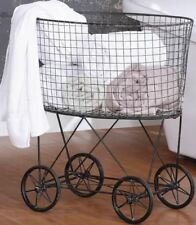 Vintage Laundry Basket Hamper Storage Metal Wire Clothes Linen Bin Rolling New
