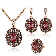 Gentle Red Rhinestone KC Gold Plated Chic Necklace Ring Earrings Jewelry Set