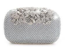 Único Broche Plata Diamante Cristal De Diamante Noche Bolsa De Embrague De Cartera De Fiesta Prom