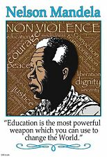 "13""×19"" Inspirational Poster: NELSON MANDELA Education Quote Black History Peace"