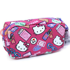Sanrio Hello Kitty Cosmetic Pouch Bag Leather Pencil Case - Bon Voyage