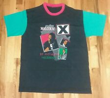 Malcolm X Any Means Neccessary Africa rare green sleeve red ringer t shirt Large