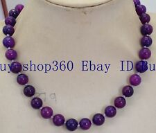 Beautiful Natural Africa 8mm Round Purple Sugilite Gemstone Necklace 18""