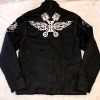 Chain Stitch Motorcycle Piston Jacket Cafe Racer Gas Monkey zip up Mens XL