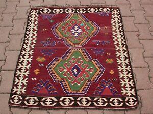 Turkish Motif Tribal Kilim Rug Cappadocia Traditional Handmade Carpet 3.4x3.7 ft