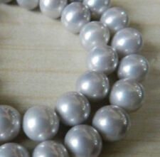 10mm Silver gray South Sea Shell Pearl Loose Beads 15''