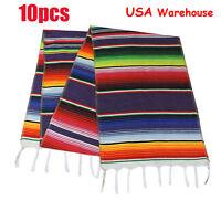 10pcs US Ship Mexican Serape Tablecloth Table Runner Party Decor Fringe Cotton