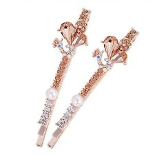 USA Bobby Pin Rhinestone Crystal Hair Clip Hairpin Long Peacock Gold 2