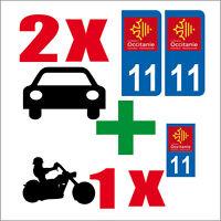 Lot 3 STICKERS 2 x AUTO+1x MOTO STYLE PLAQUE IMMATRICULATION OCCITANIE 11
