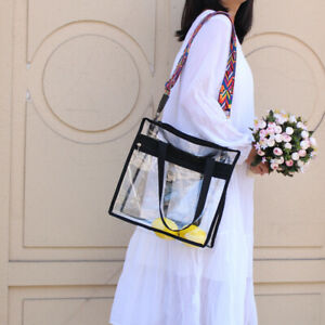 Women Clear Tote Bag Retro BeachBag Storag Handbag Gym PVC Single Shoulder