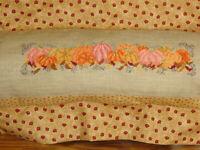 Finished Cross Stitch Pumpkins Pillow Cover Autumn Harvest Needlework Art