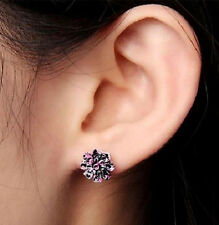 BLACK, PINK RESIN DAISY FLOWER STUD EARRINGS