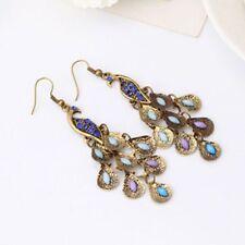 Boho Vintage Retro Hook Women Eardrop Earrings Pea Dangle Blue Rhinestone