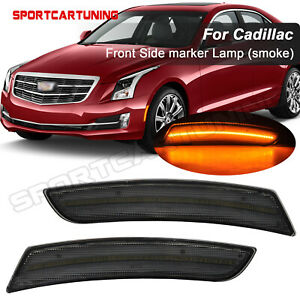 2X Smoked Front LED Side Marker Light Amber For 2015-2019 Cadillac ATS CTS CTS-V
