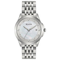 Bulova Women's Quartz Diamond Accents Silver-Tone Bracelet 36mm Watch 96P174