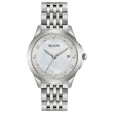 Bulova Women's 96P174 Quartz Diamond Accents Silver-Tone Bracelet 36mm Watch