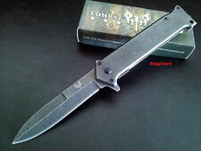 "Stiletto Tactical Combat Style 4-1/2""Flipper Liner Lock Folding Pocket Knife EDC"