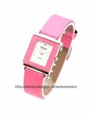 Omax Ladies White Dial Watch in Light Pink, Silver Finish, Seiko Movt RRP £49.99