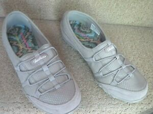 SKECHERS RELAXED FIT MEMORY FOAM SIZE 10 TAUPE TEXTILE LEATHER SHOES EUC