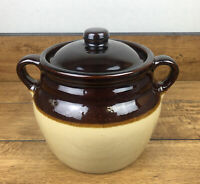"Vintage Double Handled Stoneware Bean Pot with Lid Brown and Beige 6""marked USA"