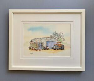 "Original Framed Watercolour ""The Orange Tractor "" Pindar, Western Australia"