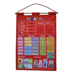 My Calendar and Weather Fabric Wall Hanging Chart Kids Preschool Learning Poster