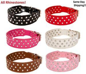 Rhinestone Dog Collar Leather Pitbull Diamonds Bling Pet Pup Non Spike S M L XL