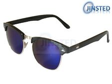 Blue Mirrored Unisex Sunglasses Reflective Shades Browline Adult Sunnies AR013