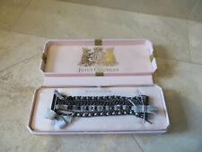 Juicy Couture 6 Strand Bracelet Gray Chrome Finish Rhinestones Ribbon NEW IN Box