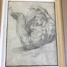 Fine Antique 17th Century Old Master Sketch Of Male Figure Study Framed