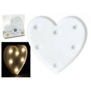 White Heart Led Light B/Op Party Wedding Home Wall Decoration 17 x 16 x 3cm