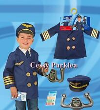 Aviator Pilot Uniform Kids Boys Child Halloween Fancy Dress Up Costume 3-7