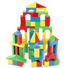 Melissa & Doug 100 Pcs Wooden Building Blocks Set Kid Toddler Preschool Toy Gift