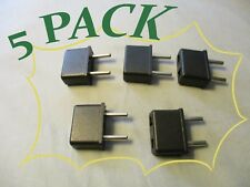 Travel Adapter Black Two Prong US to EU AC Power Plug Converter Pk of 5 New