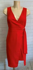 Stunning Red Wrap Style Dress Knee Length Size 8 - 22
