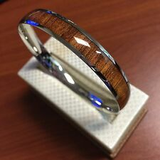 Stainless Steel Inlaid Wood Bangle (10mm)