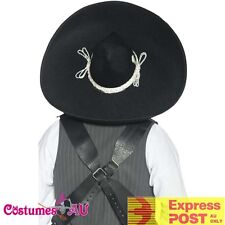 Black Mexican West Authentic Bandit Hat Mariachi Sombrero Spanish Western Cowboy