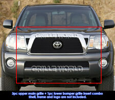 Fits 2005-2010 Toyota Tacoma Black Billet Grille Grill Insert Combo