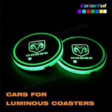 2x USB Charge Switchable 7 Colors LED Light Car Cup Holder Bottom Pad For Dodge
