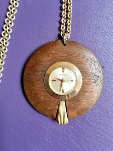 Vintage Mid-Century Modern Pendant Fashion Watch Wood works