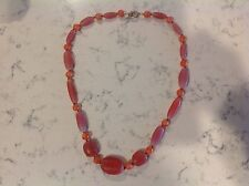 "Chunky Peachy Rose Glass / Stone bead Monet necklace - 29"" long"