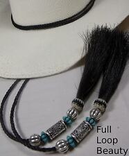 MAGNIFICENT stampede string Horsehair TURQUOISE bead full-loop  hat string black
