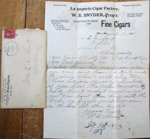 Yoe, PA 1913 Letter & Ad Cover: La Imperio / W. E. Snyder Fine Cigars
