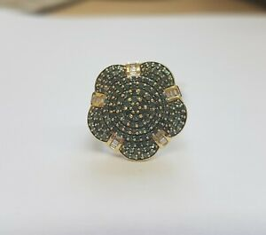 9ct Gold Blue and White Diamond Floral Cluster Ring