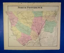 1870 North Providence, Rhode Island, Hand-Colored Maps, D.G Beers Co.